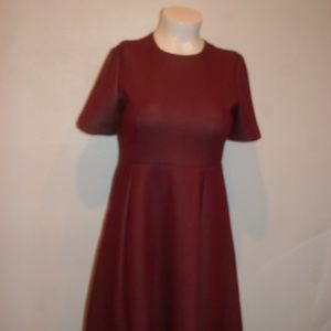COS SHORT SLEEVE FIT AND FLARE RED DRESS